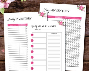 Meal Planner, Meal Planning, Meal Plan, Grocery List, Printable Planner, Filofax A5, Discbound Inserts, Meal Planner Printable, A4 A5 Letter