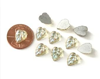 Vintage Metallic Glass Leaf Cabochons Foiled Backs (8)