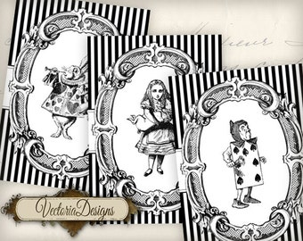 Alice in Wonderland ATC vintage images printable instant download digital collage sheet VD0401