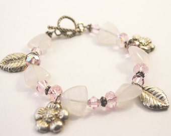 Pink Quartz and Metal Clay Charm Bracelet
