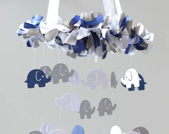 Blue Elephant Nursery Mobile- Navy Blue, Gray & White- Nursery Decor, Baby Shower Gift, Nursery Mobile