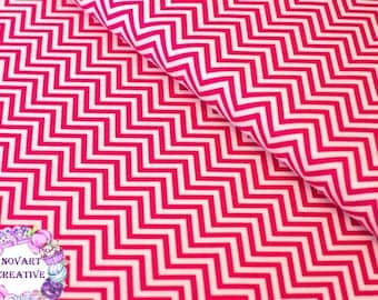 Robert Kaufman - Small Hot Pink Chevron/Remix/Cotton/Fabric/Sewing/Quilting