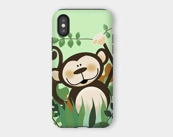 Cute Monkey Jungle iPhone X Snap Case or Tough Case, Kids iPhone X Case, Cute Phone Cases, Animals, Jungle, Zoo