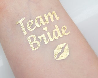 Set of 10 Bachelorette Party Favor - Bachelorette Gold Tattoo - Metallic Gold Tattoo - Team Bride - Flash tattoo, Gold tattoo