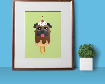 Pugsicle Sundae Pop 8x10 Art Print by Odds And Aliens