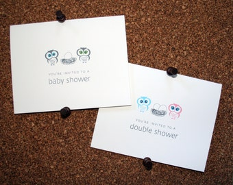 Owl Baby, Twin, Triplet, Multiple Shower Invitations / Personalized / Twin Boys / Twin Girls / Boy & Girl Twins / Eggs in Nest / Set of 10