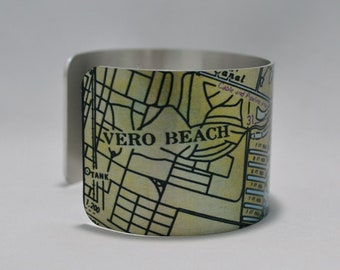 Vero Beach  Florida  Nautical Map Cuff Bracelet