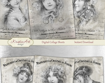 75% OFF SALE Boheme - Digital Collage Sheet Digital Cards C173 Printable Download Vintage Image Tags Woman Atc Cards ACEO Fashion Cards