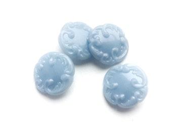 4 Vintage Fancy Baby Blue Plastic Buttons, 22mm