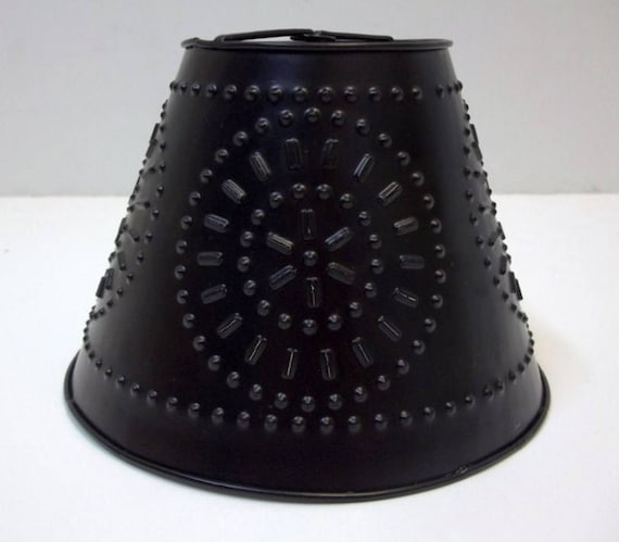 Black punched metal lampshade small clip on pierced metal lamp shade chandelier lighting supply wedding decor industrial vintage look shade from dondilights
