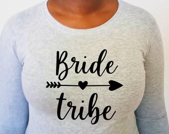 bride tribe long sleeve t shirt