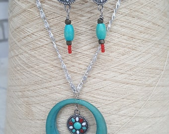 Southwestern Style Turquoise Blue & Red Necklace Earring Set, Wood and Metal Bead Necklace, Native American Necklace Earring Set