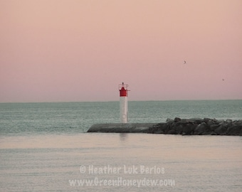 Canada Photography - Sunset Behind The Lighthouse - Landscape -  Fine Art Photography, Port Hope, Pink, Blue
