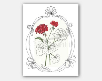 Geraniums Coloring Page Flower Coloring Page Instant Download