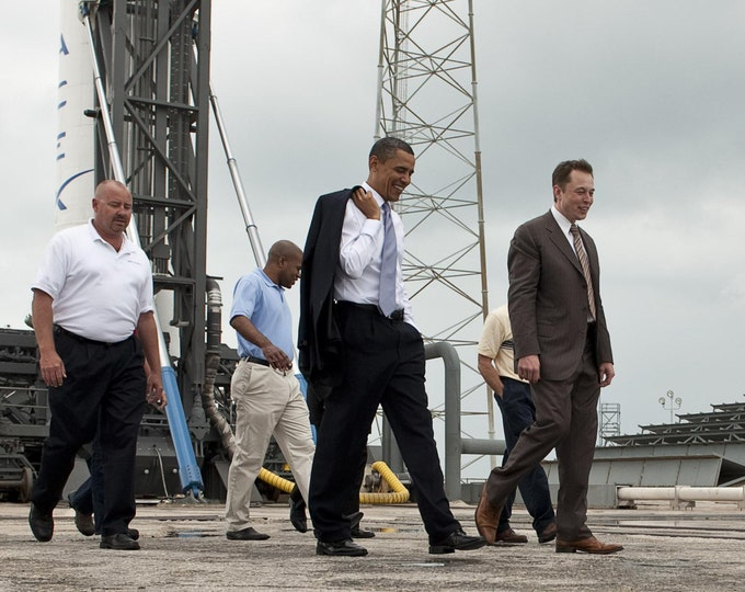 President Barack Obama Tours the SpaceX Facility With Elon Musk in 2010 - 5X7, 8X10 or 11X14 Photo (AA-924)
