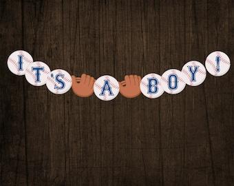 IT'S A BOY Baseball Baby Shower Banner