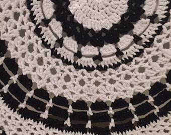 Monochrome crocheted rug, home decor, rug, black and white rug, hearth rug, living room, bathroom, bedroom