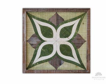 Modern Rustic Geometric wood pattern art Grey & Green Reclaimed Wood Inlay. { Wood Mosaic Art } Made from Locally Sourced reclaimed Hardwood