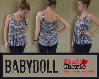 Sewing Pattern Misses Babydoll Top Bust Size 32-48 PDF instant download sewing pattern