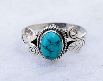 Turquoise Ring, Turquoise Stone Ring , Turquoise Silver Ring , 925 Sterling Silver Ring, Girls Women Ring, Bohemian Ring, Gypsy Ring,