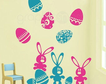 Wall decals EASTER BUNNIES & EGGS Holiday set - Removable art stickers graphics by GraphicsMesh