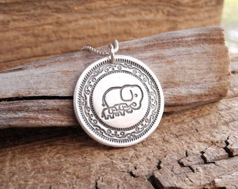 Mother and Twin Elephant Necklace, Mom and Two Children, Family Necklace, Twin Jewelry, Fine Silver, Sterling Silver Chain, Made To Order