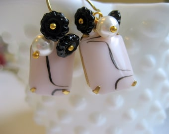 Peony pastel earrings, Retro Vintage Glass pink black Jewel  Pearl  14k Gold Ear wires
