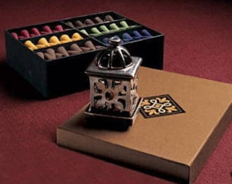Partylite Distant Lands Incense holder with box of assorted cone incense