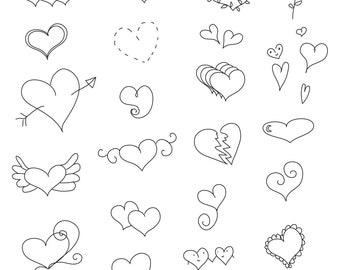 Set of Heart Illustrations -  29 Original Hand Drawn Vector Graphics