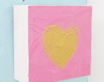 Gold Heart Acrylic Painting Anniversary Gift Western Avenue Artist Kathleen Daughan 30/30/4-2016 Small Painting Home Office Decor Wedding