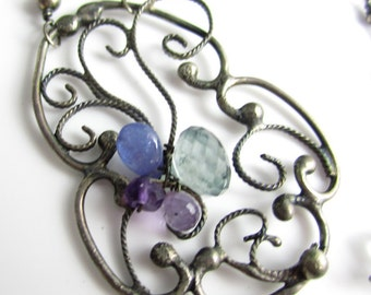 The Garden Vine Necklace - Sterling SIlver Filigree Work with Aquamarine, Amethyst andTanzanite