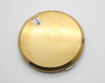 Vintage Engine Turned Etched Gold Tone Round Initial Alphabet Mirror Powder Compact by Stratton