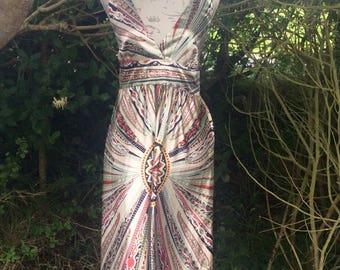 Silky feel bohemian style maxi dress