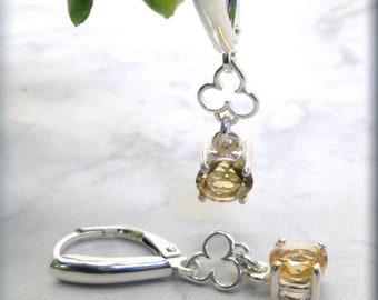 Round Golden Citrine Earrings, Leverback Earrings, Sterling Silver, Yellow Gemstone, Brazilian Citrine, November Birthstone, Birthday Gift