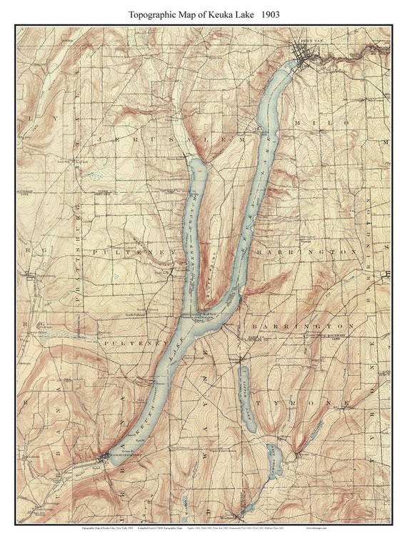 Keuka Lake 1903 USGS Old Topographic Map Custom Composite