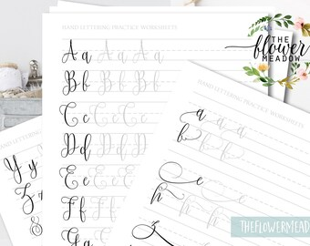 Calligraphy worksheet, learn calligraphy, beginners Hand lettering guide, modern lettering tutorial, lettering practice brush alphabet 24