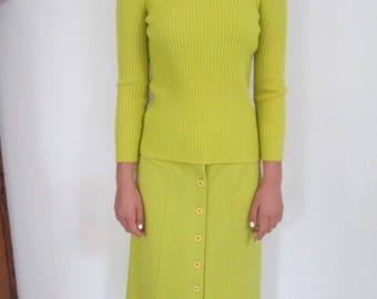 Mod A line skirt + sweater set chartreuse wool skirt ribbed turtleneck career campus wear by Geistex New York for I Magnin
