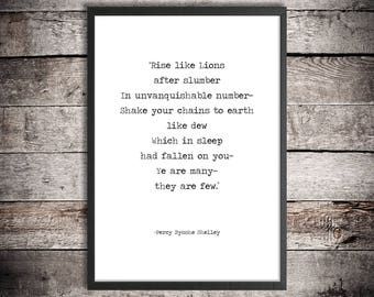 Percy Shelley 'Rise Like Lions' Printable Poem Quote Instant Download Literature Gift Masque Of Anarchy Peaceful Resistance Poem Battle Cry