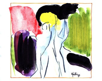 Image 1. Watercolor, ink and black pencil drawing sketch pad paper