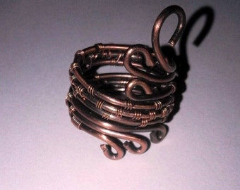Copper wire wrapping ring handmade