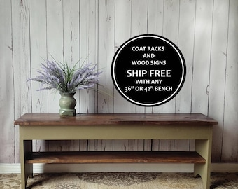 """32"""" Rustic Bench - Entryway, Shoe Storage Shelf, Small, Distressed, Wood, Country, Farmhouse Decor, Mudroom, Bedroom, Hand Painted, Stained"""