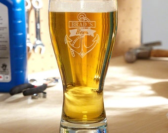Anchors Aweigh Personalized Pilsner Glass - Perfect Gift Idea for Beer Lovers, Sailing Gifts, Great Gift for Him