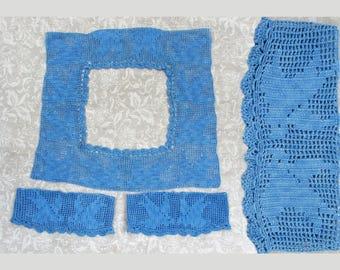 Antique crochet collar & cuffs - Blue Bird Design - Edwardian - ca 1910