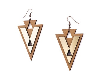 Ethnic Triangle Wooden Gold Earrings