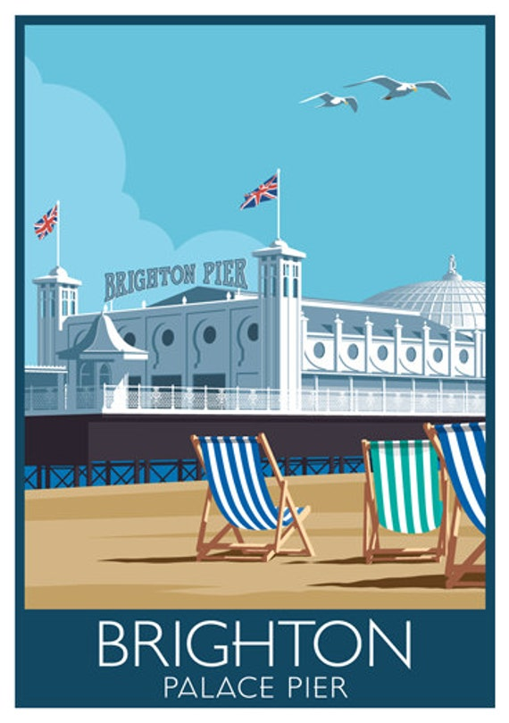 Brighton Art Print Travel Poster Of Palace Pier Brighton