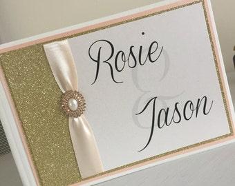 The 'Rosie & Jason' Glitter Wedding Guestbook / Wedding Guestbook / Guestbook / Personalised Guestbook / Personalized Guestbook