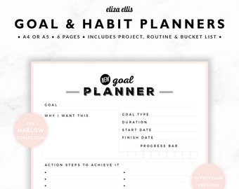 GOAL PLANNERS / Habit Tracker / 2018 Planner / Project Planner / Routine Chart / Checklist / Goals / The Harlow Planners in Perfume / 423