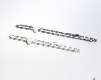PULSERA cadena especial de plata con corazón, pulsera sencilla de plata, pulsera para él o ella, regalo original , hecho a mano
