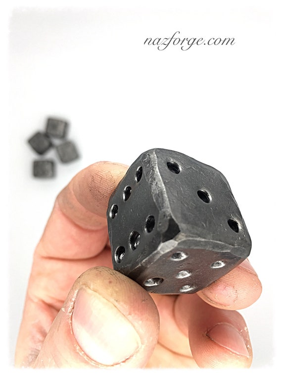 """1"""" FORGED METAL DIE  by Naz - Gifts for Him - Gifts for Men - Hand Forged - Man - Hammer Textured by Hand - Distressed - Groomsmen Gift"""