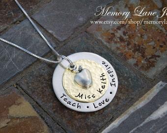 Teach Love Inspire - Teacher Necklace - Teacher Appreciation - End of School Year Gift - Teacher Gift - New Teacher Gift - Graduation Gift